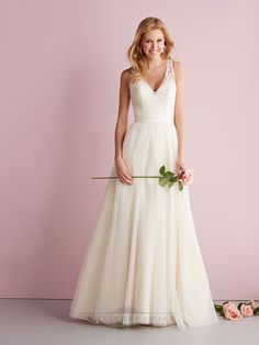 Straps A-line V-neck Wedding Dress with Illusion Back | Wedding Dresses 2014