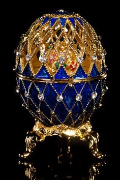 Blue and Gold Faberge Imperial Egg on Black Background Objets Antiques, Fabrege Eggs, Tsar Nicolas, Imperial Russia, Egg Art, Lausanne, Russian Art, Egg Decorating, Glass Art