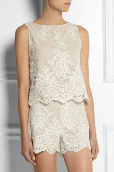 Alice + Olivia | Amal embroidered tulle top | NET-A-PORTER.COM