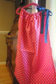 Dresses for girls - Pillowcase Dress - Hot pink polka dot boutique aline with satin navy blue tie size 6 summer nautical by rufflesandbowties on Etsy