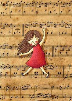 Girl dancing on sheet music Piano Music, My Music, Sheet Music, Illustration Art, Illustrations, Partition, Music Artwork, Inspiration Art, Music Lovers