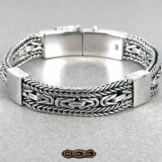"Bali Wide Woven Viking Chain Bracelet - 925 Sterling Silver - 7.75"", 11-MM - NEW #DragonSoul #Chain #dragon-soul on eBay"
