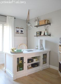 Notre Dame by Valspar in a home office by A Shade of Teal - love the white desk and shiplap!