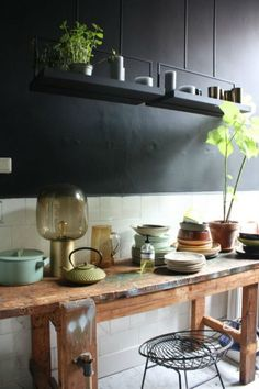 Stoere werkbank in de keuken