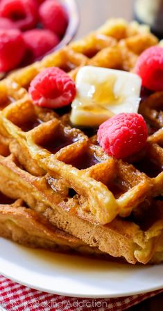 My favorite Buttermilk Waffles recipe. Delightfully crisp on the outside, light as air on the inside.