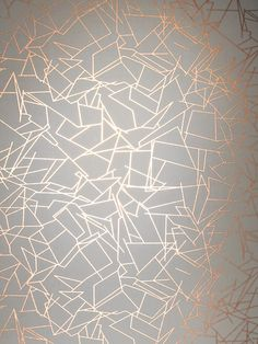 Erica Wakerly Wallpaper from £69/roll. Order online today. A graphic pattern wallpaper design featuring copper metallic lines which reflect the light.