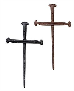 Inspirational Cast Iron Three Nail Crosses Black Brown Set of 2