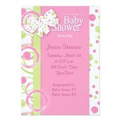 Mod Circles Baby Girl Shower Invitation