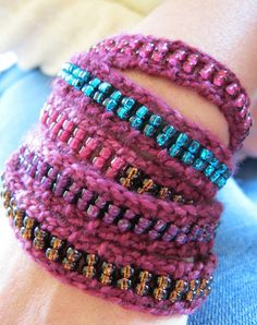 more knitted beaded bracelets
