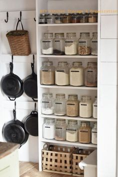 17 Awesome Pantry Shelving Ideas to Make Your Pantry More Organized Pantries are practical additions to any home. From simple solutions to elaborate showcases, here are great small pantry shelving ideas. Pantry Shelving, Pantry Storage, Pantry Organization, Kitchen Shelves, Kitchen Pantry, Kitchen Storage, Shelving Ideas, Organized Pantry, Storage Ideas