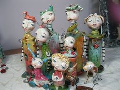 "Group 2 of ""Legions"" - Handmade, individually sculpted, ceramic clay, fired many times by Sunny Carvalho"