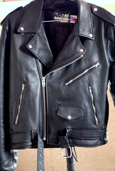 All American Rider Made In USA Leather Motorcylce Jacket Size 44 #AllAmericanRider #Motorcycle