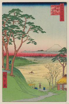 Grandpa's Teahouse, Meguro (Meguro Jijigachaya), from the series One Hundred Famous Views of Edo (Meisho Edo hyakkei)  Japanese 1857 (Ansei 4), 4th month Artist Utagawa Hiroshige I (Japanese, 1797–1858)