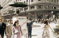 Calle Ahumada de Santiago en el año 1950