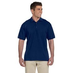 6.1 oz Ultra Cotton (R) Jersey Polo...6.1 oz 100% preshrunk cotton jersey polo shirt. Features double-needle stitching throughout, welt-knit collar and cuffs, three-button placket with woodtone buttons, and hemmed bottom. The perfect blend of comfort and style. Take command at the office or on the greens in this handsome cotton jersey polo shirt. Sport Gray is 90% cotton, 10% polyester.