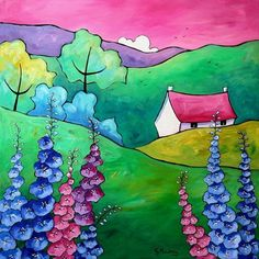 Larkspur Cottage (On Display At Art Gallery, Tetbury) by Gillian Mowbray: