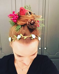 Crazy hair day for red ribbon drug free week! So easy! I got the bird and a single silk Christmas arrangement at Joanns. I cut the pieces apart and pinned them in! I already had the flowered headband. The kids loved it! :)