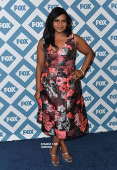 Fabulously Spotted: Mindy Kaling Wearing Lela Rose - 2014 Fox All-Star Party - http://www.becauseiamfabulous.com/2014/01/mindy-kaling-wearing-lela-rose-2014-fox-all-star-party/