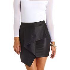 Coated Asymmetrical Envelope Mini Skirt: Charlotte Russe