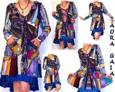 """Jacket Patchwork Jersey Knits Upcycled Couture Stained by AuraGaia, $239.00      Nobody else can do this """"Stained Glass"""" style of clothing like AuraGaia. Jersey Knits, Stained Glass, Cover Up, Textiles, Couture, Knitting, Trending Outfits, Clothing, Jackets"""