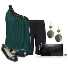Cold Shoulder - black shorts, black flats and black clutch