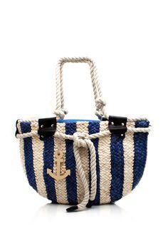 striped woven tote bag $29.90 Nautical Shoes, Nautical Fashion, Best Handbags, Tote Handbags, Diy Crochet Bag, Style Marin, Summer Tote Bags, Basket Bag, Cute Bags