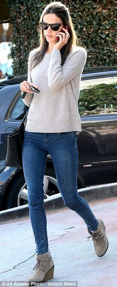 Alessandra Ambrosio, ran errands in Los Angeles on Monday in skinny jeans and a sweater after frolicking in a bikini last week on a Florida beach. Wedges Outfit, Tan Wedges, Boating Outfit, Wedge Boots, Ankle Boots, Autumn Winter Fashion, Winter Outfits, Cute Outfits, Alessandra Ambrosio