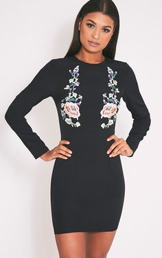 Black Embroidered Long Sleeve Bodycon Dress  Featuring ultra-cool floral embroiderey, this bodyco...