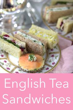 A delicious assortment of traditional English tea sandwiches for the perfect afternoon tea! Classic egg, smoked salmon, cucumber, and chicken with cranberry! Gourmet Sandwiches, Sandwich Bar, Tea Party Sandwiches Recipes, Tea Party Recipes, Birthday Recipes, Brunch Recipes, English Tea Sandwiches, High Tea Sandwiches, Picnic Sandwiches