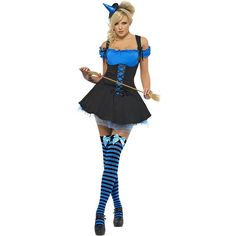 Halloween Blue Wicked Witch ($37) ❤ liked on Polyvore featuring costumes, fancy halloween costumes, white party costumes, blue halloween costume, wicked witch costume and white halloween costumes