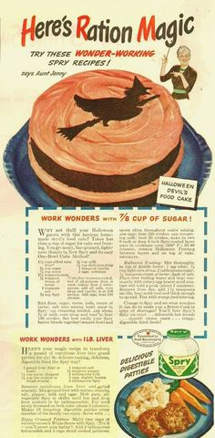 Spry's Halloween Ration Cake : farmgirlpink #Vintage_Halloween #vintage_recipes