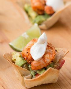 Shrimp Cups With Chunky Avocado Salsa (make with phyllo cups and prepared quac)