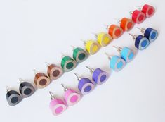 color pencil ear studs the triangle version in candy by huiyitan, £6.00