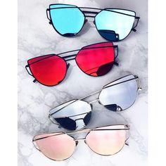 Twin Beam Mirror Cat Eye Sunglasses