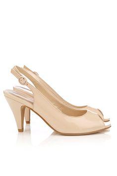 Nude Peep Toe Sling Back Shoe $55