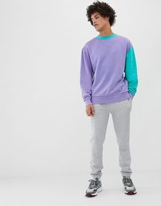Browse online for the newest COLLUSION washed color block sweatshirt in lilac styles. Streetwear, Color Blocking Outfits, Checked Trousers, Mens Sweatshirts, Hoodies, Sport Fashion, Menswear, Mens Tops, Clothes