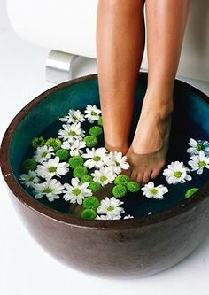 Aah, soaking your toesies in daisy water after a day of trying every shoe in the world on.................