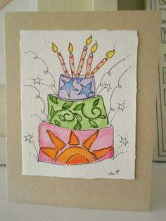 "Birthday Watercolor Card ""I Like This One""  Original Art Cards With Envelopes betrueoriginals"