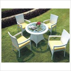 Round Frosted Glass Top Outdoor Dinning Set with 4 Armchairs Ideal Living