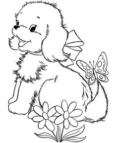 Puppy Plays With A Butterfly Coloring Page