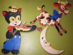 Dolly Toy Mother Goose Pin Ups Cat and the Fiddle Nursery Wall Hanging Abc Costumes, Hey Diddle Diddle, Vintage Nursery, Vintage Walls, Baby Boomer, Mother Goose, Retro Toys, Baby Decor, Nursery Rhymes