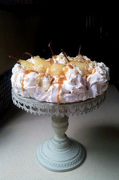 My Winter Pavlova with Pears, Mascarpone & Caramel Sauce. Absolutely wicked. #wwflavoursociety #meringue #desserts