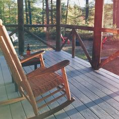 Deck life  Had many evenings sat on the rocker at sunset in the trees one of the great things about renting with @vrbo Highly recommend for unique places to stay  #usa #maine #waterford #bridgton #papoosepond #rockingchair #woodwork #sunsets