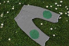 Stripy Baby Crawler Pants with Knee patches