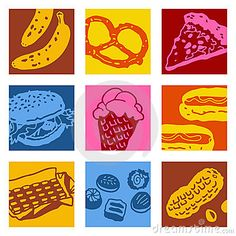 Pop art objects - food by N.l, via Dreamstime - I want Peanut Pop Art for Ira's space