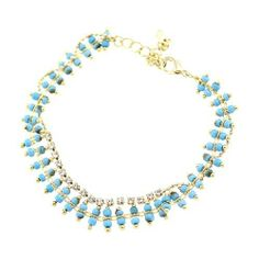 """Fashion Link Bracelet; 6""""L With 2"""" Extension Chain; Turquoise Beads And Clear Rhinestones; Gold Metal; Lobster Clasp Closure; Eileen's Collection. $16.99. Save 43% Off!"""