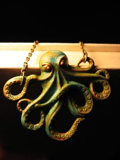 Antique Patina Octopus Necklace