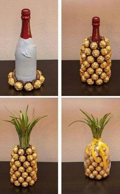 Such a cute wedding or birthday gift idea! A champagne or wine bottle covered in Ferrero Rocher candies, decorated to look like a pineapple!