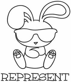 Embroidery Designs at Urban Threads - Represent Cross Stitch Embroidery, Embroidery Patterns, Zentangle, Bunny Tattoos, Bunny Drawing, Easter Coloring Pages, Fun Crafts To Do, Urban Threads, Crayon
