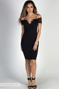 """Blissful Beauty"" Black Floral Lace Off Shoulder Bodycon Midi Dress Pretty Dresses, Sexy Dresses, Short Dresses, Fashion Dresses, Black Bodycon Dress, Lace Dress Black, Off Shoulder Lace Dress, Black Cocktail Dress, Cocktail Dresses"